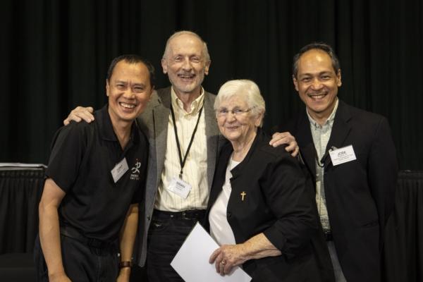 From left: Fr Tony Moreno SJ, President of the Jesuit Conference of Asia Pacific; Fr Brian McCoy SJ, Australian Jesuit Provincial; Professor Maryanne Confoy RSC; Fr Jose Magadia SJ, Regional Assistant for Asia Pacific.