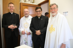 From left: Matthew Pinson SJ, Fr Brian McCoy SJ (Provincial), Isaac Demase SJ and Fr Brendan Kelly SJ (Delegate for Formation).