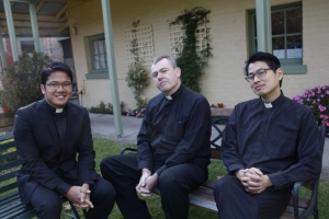 Nico with his fellow new Jesuit deacons Rob Morris and Alan Wong.