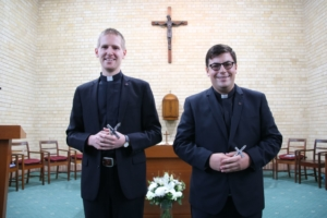 Novices Matthew Pinson and Isaac Demase SJ after their vow ceremony. Photo by Nico Lariosa SJ